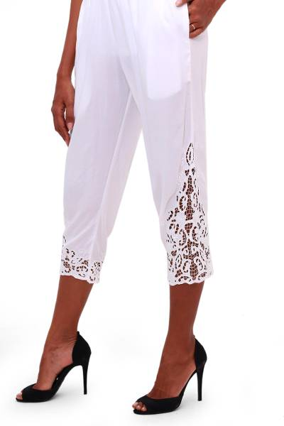 Rayon pants, 'White Padma Flower' - Floral Embroidered Rayon Pants in White from Bali
