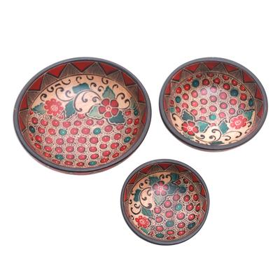 Batik wood centerpieces, 'Cherry Decor' (set of 3) - Floral Batik Wood Centerpieces from Java (Set of 3)