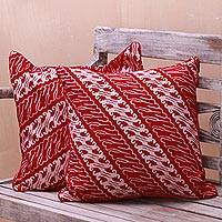 Batik rayon cushion covers, 'Crimson Parang' (pair) - Parang Motif Batik Rayon Cushion Covers from Java (Pair)