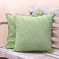 Batik rayon cushion covers, 'Lime Parang' (pair) - Parang Motif Batik Rayon Cushion Covers in Lime (Pair)