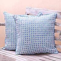 Batik cotton cushion covers, 'Cerulean Kawung' (pair) - Kawung Motif Batik Cotton Cushion Covers from Java (Pair)