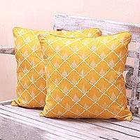 Batik rayon cushion covers, 'Saffron Shells' (pair) - Batik Rayon Cushion Covers in Saffron from Java (Pair)