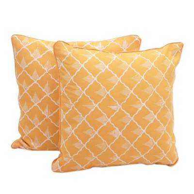 Batik Cotton Cushion Covers in Saffron from Java (Pair)