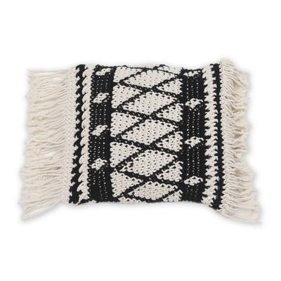 Geometric Ebony and Eggshell Cotton Cushion Cover