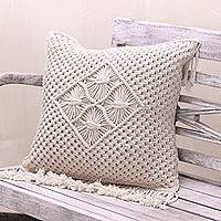 Cotton cushion cover, 'Center of Attention' - Handcrafted Eggshell Cotton Cushion Cover from Bali