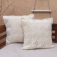 Cotton cushion covers, 'Lovely Fireworks in White' (pair) - Circle Pattern Cotton Cushion Covers in White (Pair)