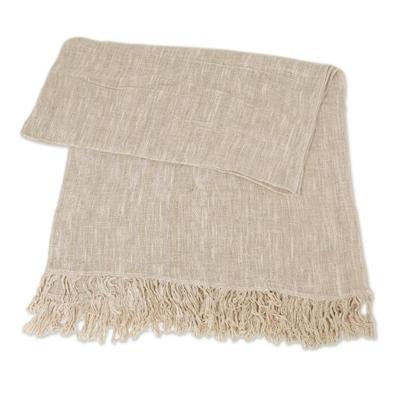 Alabaster Ivory Handwoven Lightweight Cotton Throw from Bali