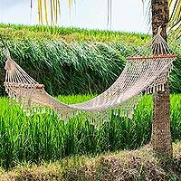 Cotton rope hammock, 'Bali Relaxation' (single) - Hand-Knotted Cotton Rope Hammock from Bali (Single)