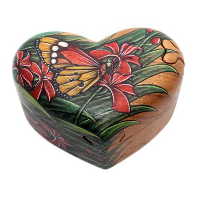 Wood puzzle box, 'Butterfly Love' - Hand-Painted Heart-Shaped Wood Butterfly Puzzle Box