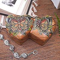 Wood puzzle box, 'Twin Butterfly Hearts'