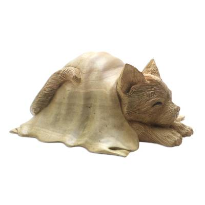 Hibiscus wood sculpture, 'Chilly Cat' - Hibiscus Wood Sculpture of a Cat in a Blanket from Bali