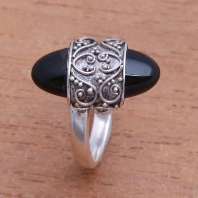 Onyx cocktail ring, 'Beautiful Embrace' - Combination-Finish Black Onyx Cocktail Ring from Bali