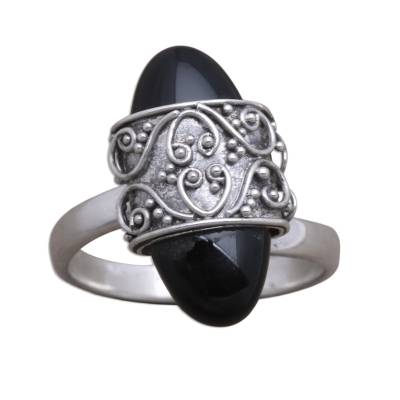 Combination-Finish Black Onyx Cocktail Ring from Bali