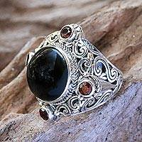 Onyx and garnet cocktail ring, 'Regal Blessing' - Onyx and Garnet Cocktail Ring Crafted in Bali