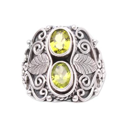 Leaf Motif Peridot Cocktail Ring Crafted in Bali