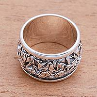 Sterling silver band ring, 'Stylish Contours' - Contoured Sterling Silver Band Ring from Bali