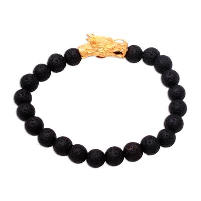 Gold Accented Dragon Lava Stone Beaded Stretch Bracelet