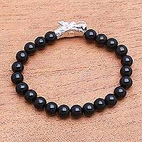 Rhodium plated onyx beaded stretch bracelet, 'Wise Dragon' - Rhodium Plated Dragon-Themed Onyx Beaded Stretch Bracelet