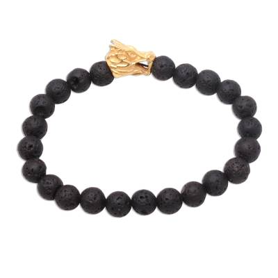Lava Stone Dragon Beaded Stretch Bracelet with Gold Accent