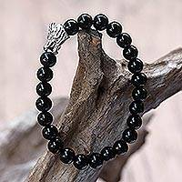 Rhodium plated onyx beaded stretch bracelet, 'Calm' Dragon - Rhodium Plated Dragon Onyx Beaded Stretch Bracelet