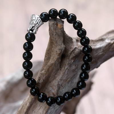 Rhodium plated onyx beaded stretch bracelet, Calm Dragon