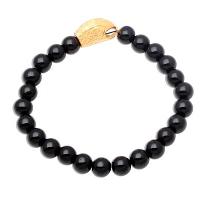 Gold Accented Eagle-Themed Onyx Beaded Stretch Bracelet