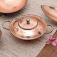 Copper serving bowl, 'Warm Glow' - Copper Serving Bowl with a Lid from Java