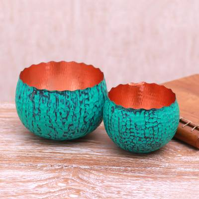 Copper decorative bowls, 'Antiqued Patina' (pair) - Oxidized Copper Bowls from Bali (Pair)