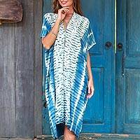 Tie-dyed rayon caftan, 'Segara Telu' - Ocean Ripple Tie-Dyed Cotton Caftan from Java