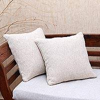 Cotton cushion covers, 'Traditional Comfort in Ivory' (pair) - Handwoven Jute Cushion Covers in Solid Ivory (Pair)