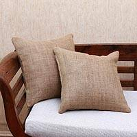 Jute cushion covers, 'Traditional Comfort in Ochre' (pair) - Handwoven Jute Cushion Covers in Solid Ochre (Pair)