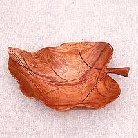 Wood catchall, 'Floating Leaf'