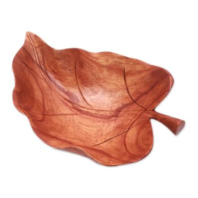 Wood catchall, 'Floating Leaf' - Suar Wood Leaf Catchall Crafted in Indonesia