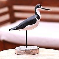 Wood decorative accent, 'Black-Necked Stilt' - Beach Cottage Wood Bird Decorative Accent from Bali