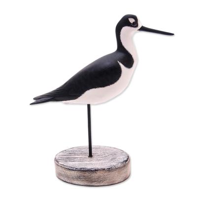 Wood decorative accent, 'Black-Necked Stilt' - Beach Cottage Wood Bird Decorative Accent from Bali