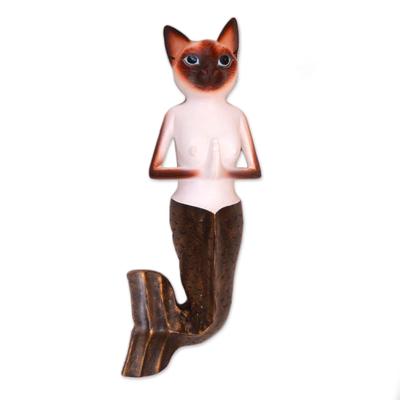 Wood wall sculpture, 'Siamese Mermaid Cat' - Hand-Painted Wood Siamese Mermaid Cat Wall Sculjpture