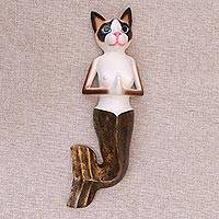 Wood wall sculpture, 'Snowshoe Mermaid Cat' - Hand-Painted Wood Snowshoe Mermaid Cat Wall Sculpture