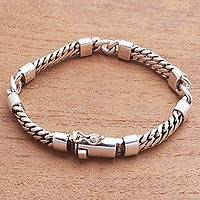 Sterling silver station bracelet, 'Elegant Quartet' - Sterling Silver Station Bracelet Crafted in Bali