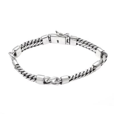 Sterling silver station bracelet, 'Elegant Quartet' - Sterling Silver Station Bracelet Crafted in Bali