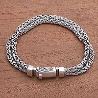 Men's sterling silver chain bracelet, 'Wheat Twins' - Combination-Finish Men's Sterling Silver Wheat Bracelet