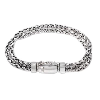 Men's sterling silver chain bracelet, 'Wheat Twins' - Combination-Finish Men's Sterling Silver Wheat Bracelet