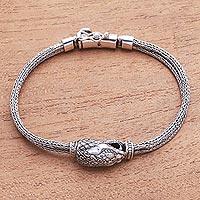 Sterling silver pendant bracelet, 'Stylish Snake' - Sterling Silver Snake Pendant Bracelet from Bali