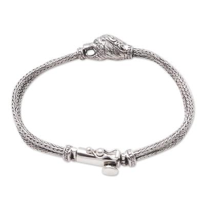 Sterling silver pendant bracelet, 'Stylish Lion' - Sterling Silver Lion Pendant Bracelet from Bali