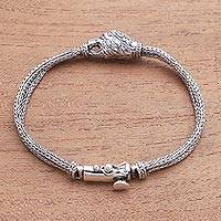 Sterling silver chain bracelet, 'Tiger Bite' - Tiger-Themed Sterling Silver Chain Bracelet from Bali