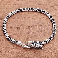 Sterling silver chain bracelet, 'Dragon Bite' - Dragon-Themed Sterling Silver Chain Bracelet from Bali