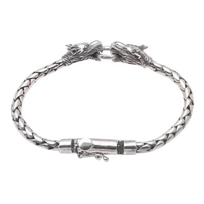 Men's sterling silver pendant bracelet, 'Dueling Dragons' - Men's Sterling Silver Dragon Pendant Bracelet from Bali