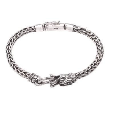 Sterling silver pendant bracelet, 'Clutching Ring' - Dragon-Themed Sterling Silver Pendant Bracelet from Bali