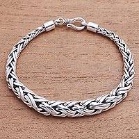 Sterling silver chain bracelet, 'Expanding Wheat' - Expanding Sterling Silver Wheat Chain Bracelet from Bali