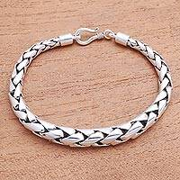 Sterling silver chain bracelet, 'Expanding Gleam' - High-Polish Sterling Silver Wheat Chain Bracelet from Bali