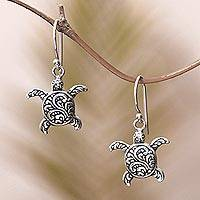 Sterling silver dangle earrings, Baby Turtles